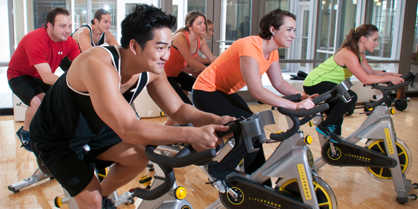 Bicycling class in the Wellness Center