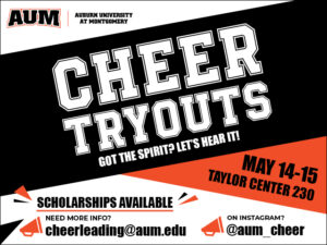 AUM Cheerleading Tryout Graphic