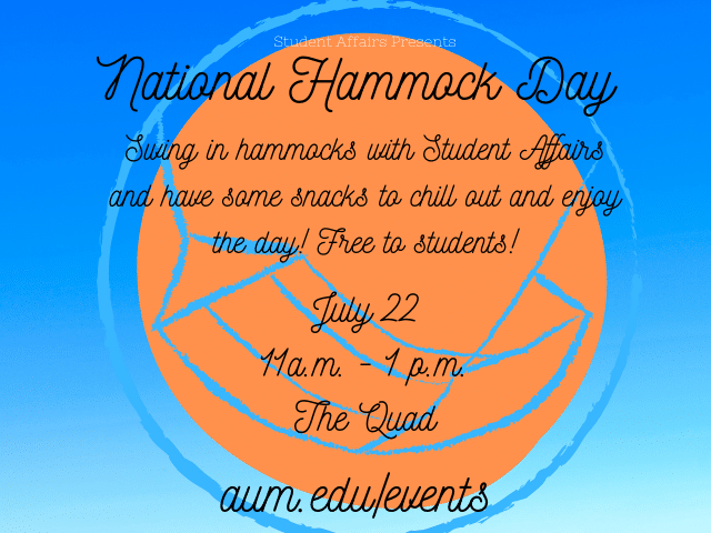 Student Affairs National Hammock Day graphic