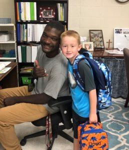 Derrick Harris and student