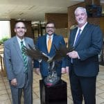 Chancellor Carl Stockton, Provost Mrinal Varma and Library Dean Phill Johnson